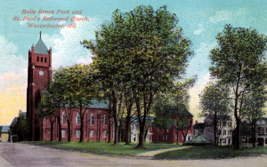 Belle Grove Park and St. Paul German Reformed Church are shown in this postcard from the 1920s. The fountain is shown in the middle of the square.